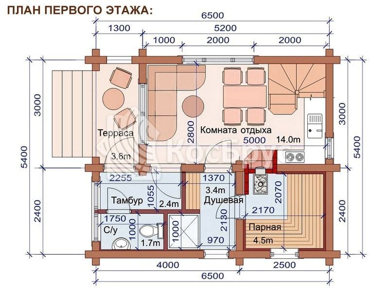 Проект бани дома 5.4 х 6.5 м