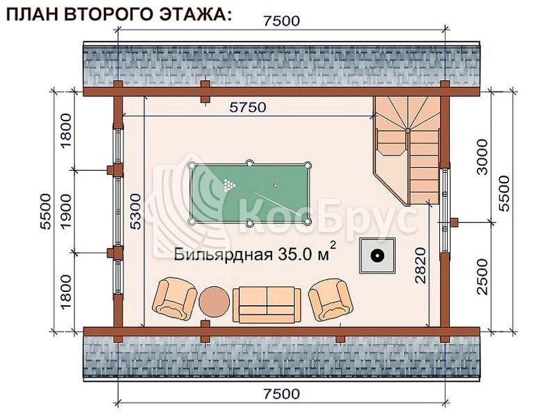 Проект бани со вторым этажом 5.5 х 7.5 м