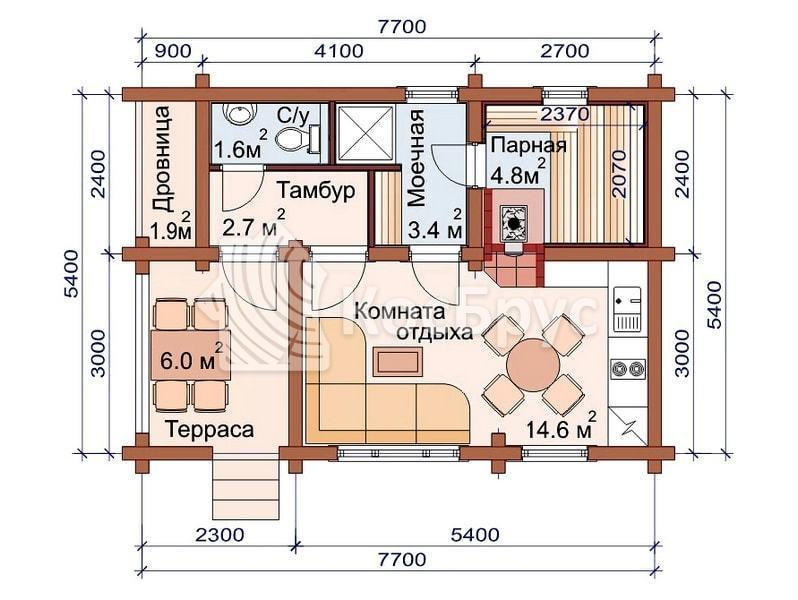 Проект бревенчатой бани 5.4 х 7.7 м