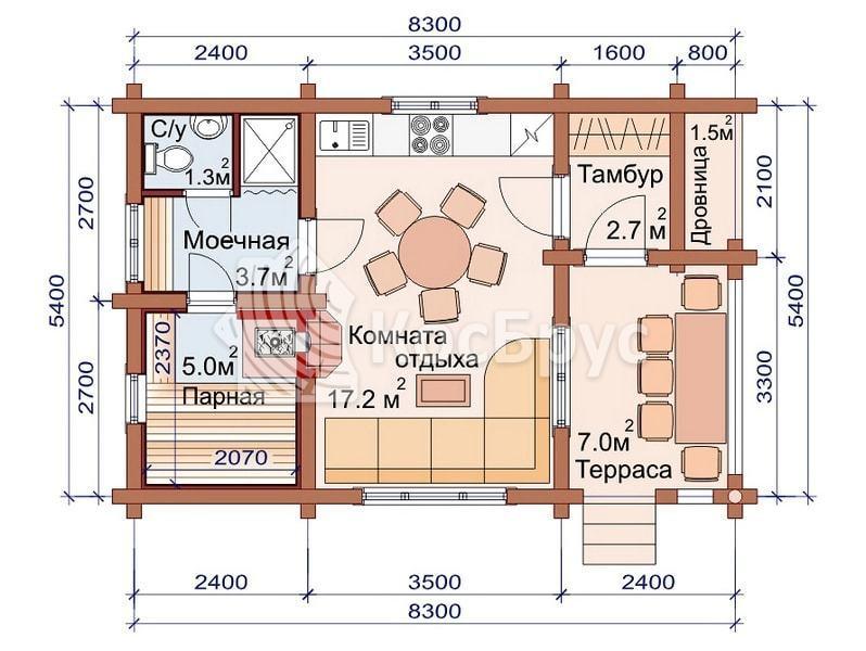 Проект частной бани 5.4 х 8.3 м