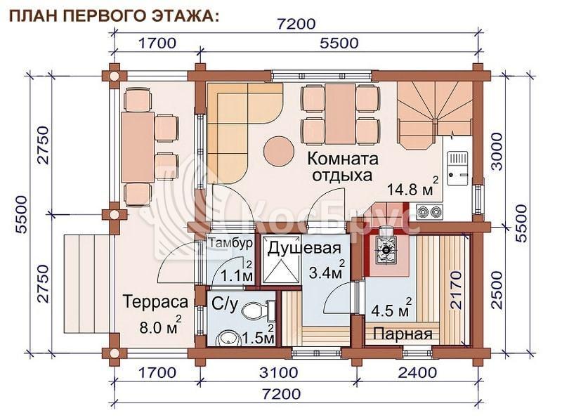 Проект дачного дома с баней 5.5 х 7.2 м
