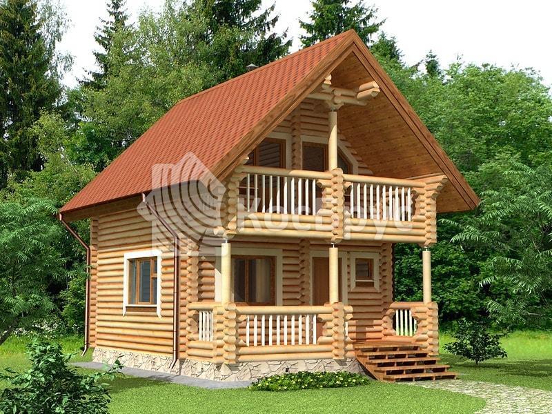 Проект дачного дома с баней 5.5 х 7.2 м «Клавдия»