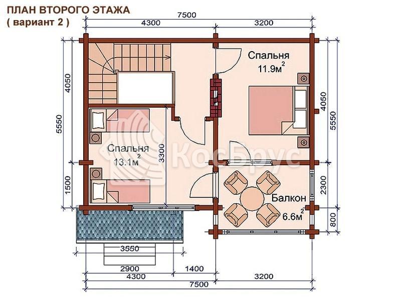 Проект дачного дома с баней 5.5 х 7.5 м