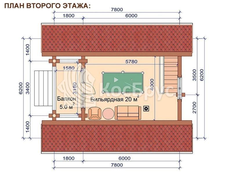 Проект дачного дома с баней 6.2 х 7.8 м