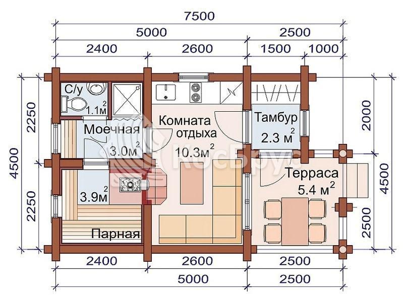 Проект дачной бани 4.5 х 7.5 м