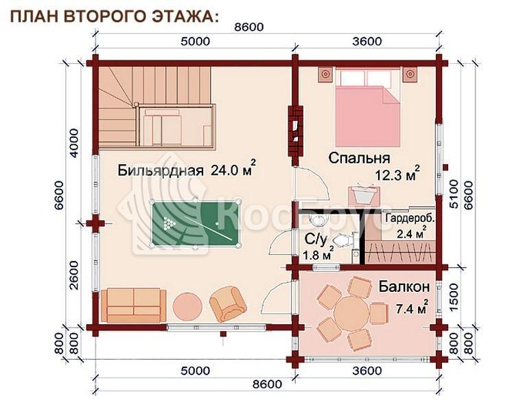 Проект дома бани из бревна 6.6 х 8.6 м