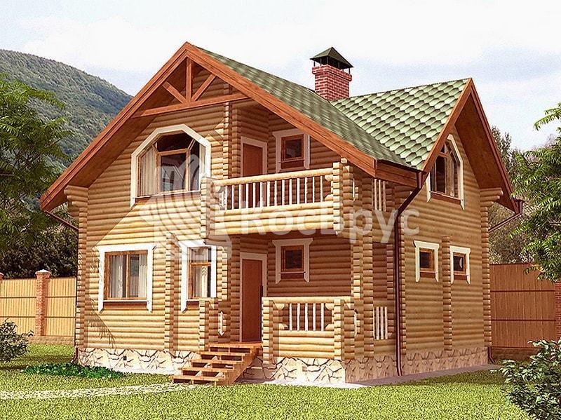 Проект дома бани из бревна 6.6 х 8.6 м «Фортуна»