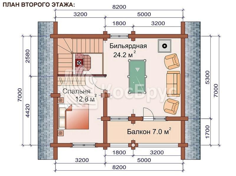 Проект дома с баней вместе 7.0 х 8.2 м