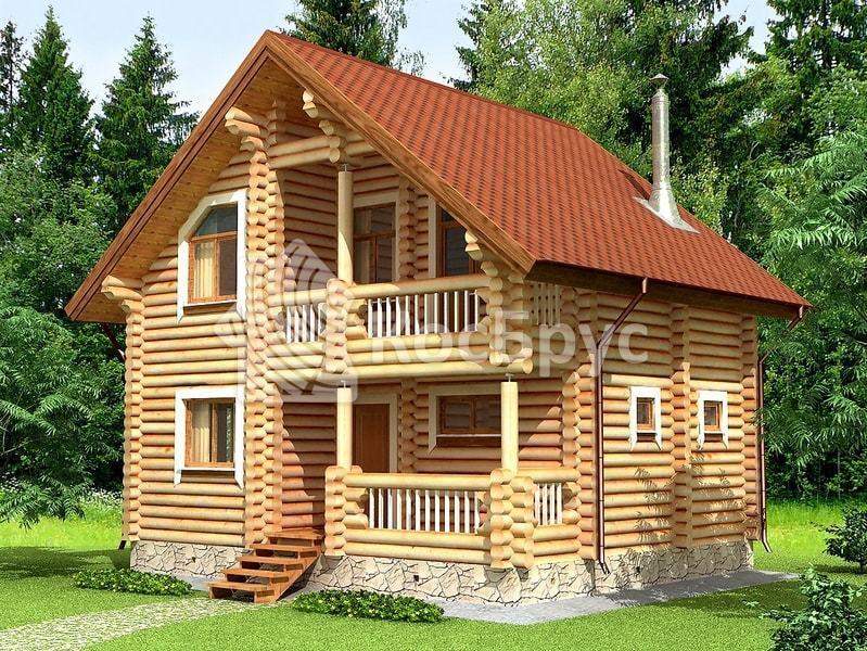 Проект дома с баней вместе 7.0 х 8.2 м «Злата»