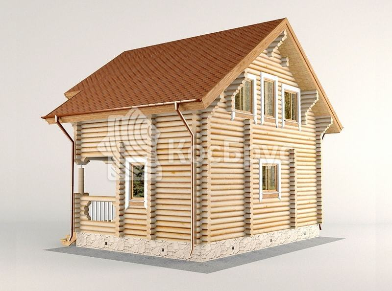 Проект дома с баней внутр 5.4 х 8.0 м