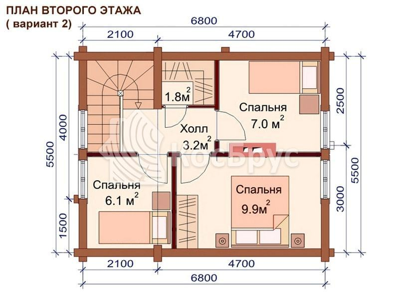 Проект двухэтажной бани из бревна 5.5 х 6.9 м