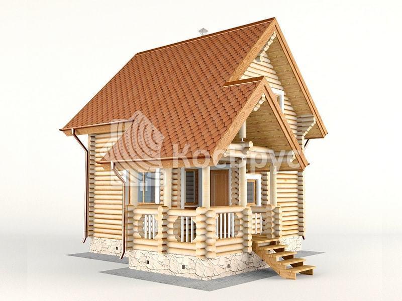Проект гостевого дома с баней вместе 5.5 х 5.5 м