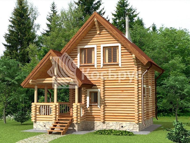 Проект гостевого дома с баней вместе 5.5 х 5.5 м «Серафима»