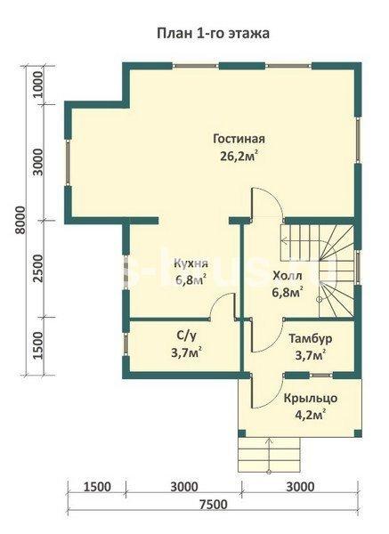 Проект дома из бруса 7.5х8.0 м