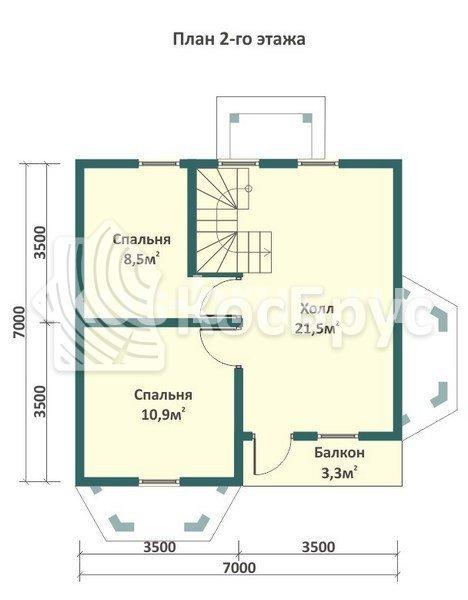 Проект дома из бруса 8.0х8.0 м