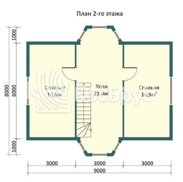 Проект дома из бруса 8.0х9.0 м