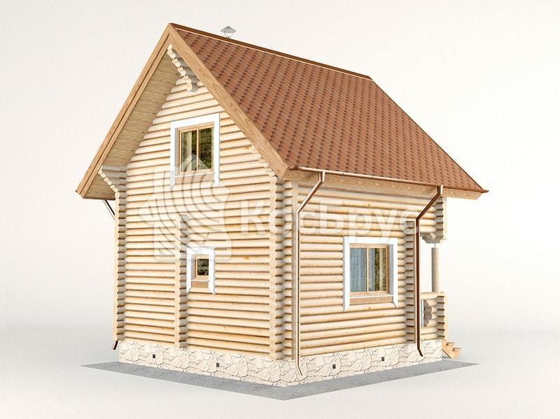 Проект небольшого дома с баней 5.4 х 5.4 м