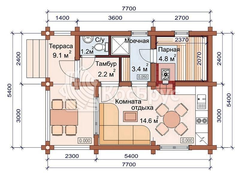 Проект недорогой бани 5.4 х 6.3 м