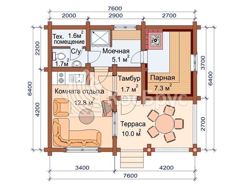 Проект одноэтажной бани 6.4 х 7.6 м