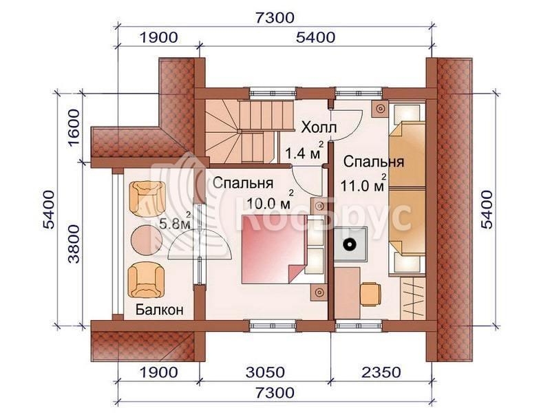 Проект загородного дома с баней 5.4 х 5.4 м