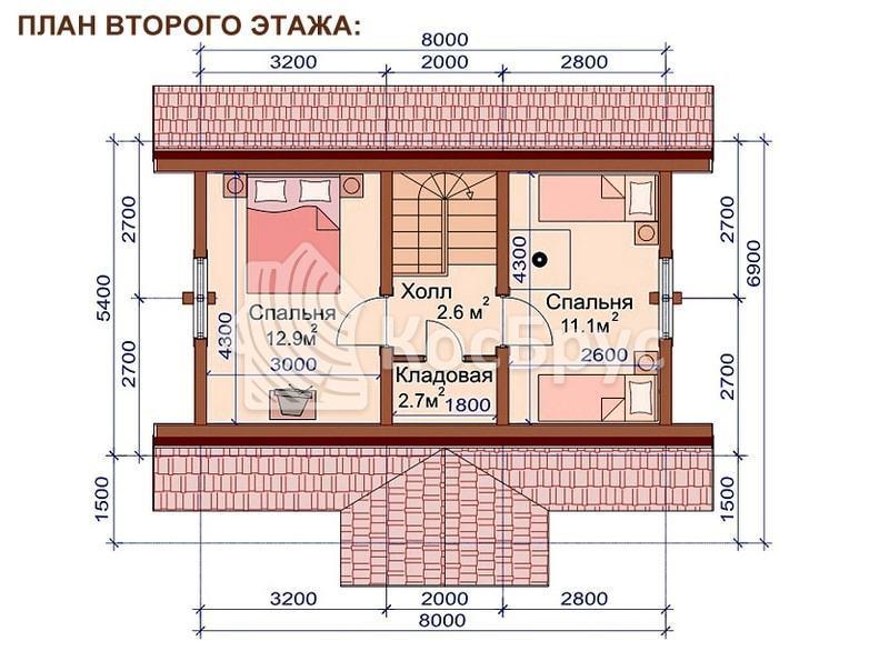 Проект жилой бани 5.4 х 8.0 м
