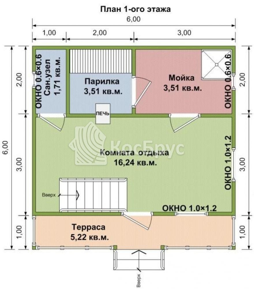 Баня с двухскатной мансардной крышей 6.0х6.0 м