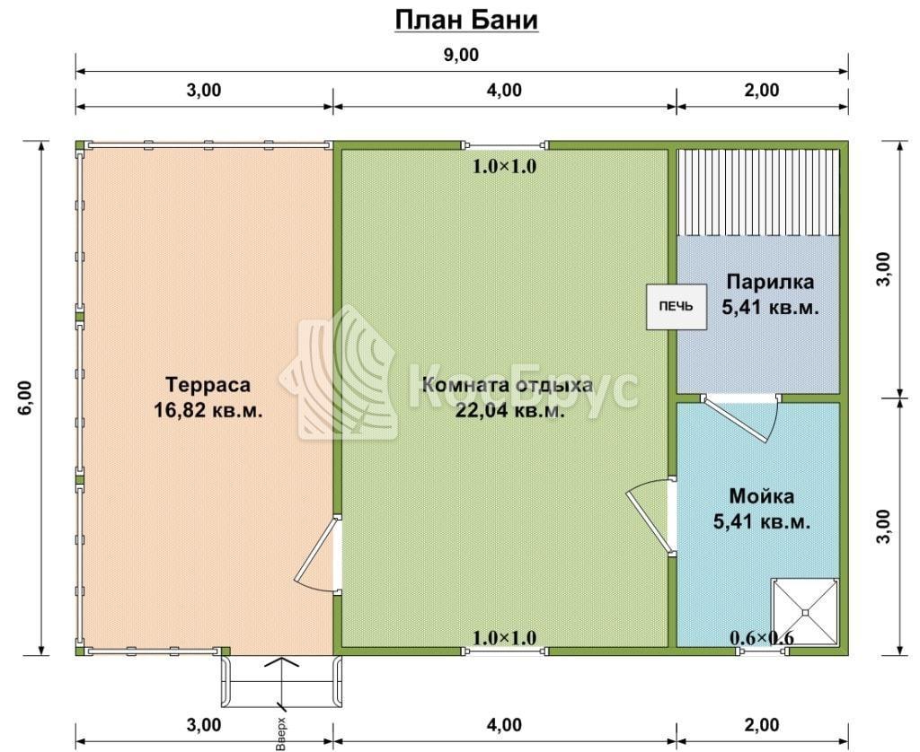 План бани 6.0х9.0
