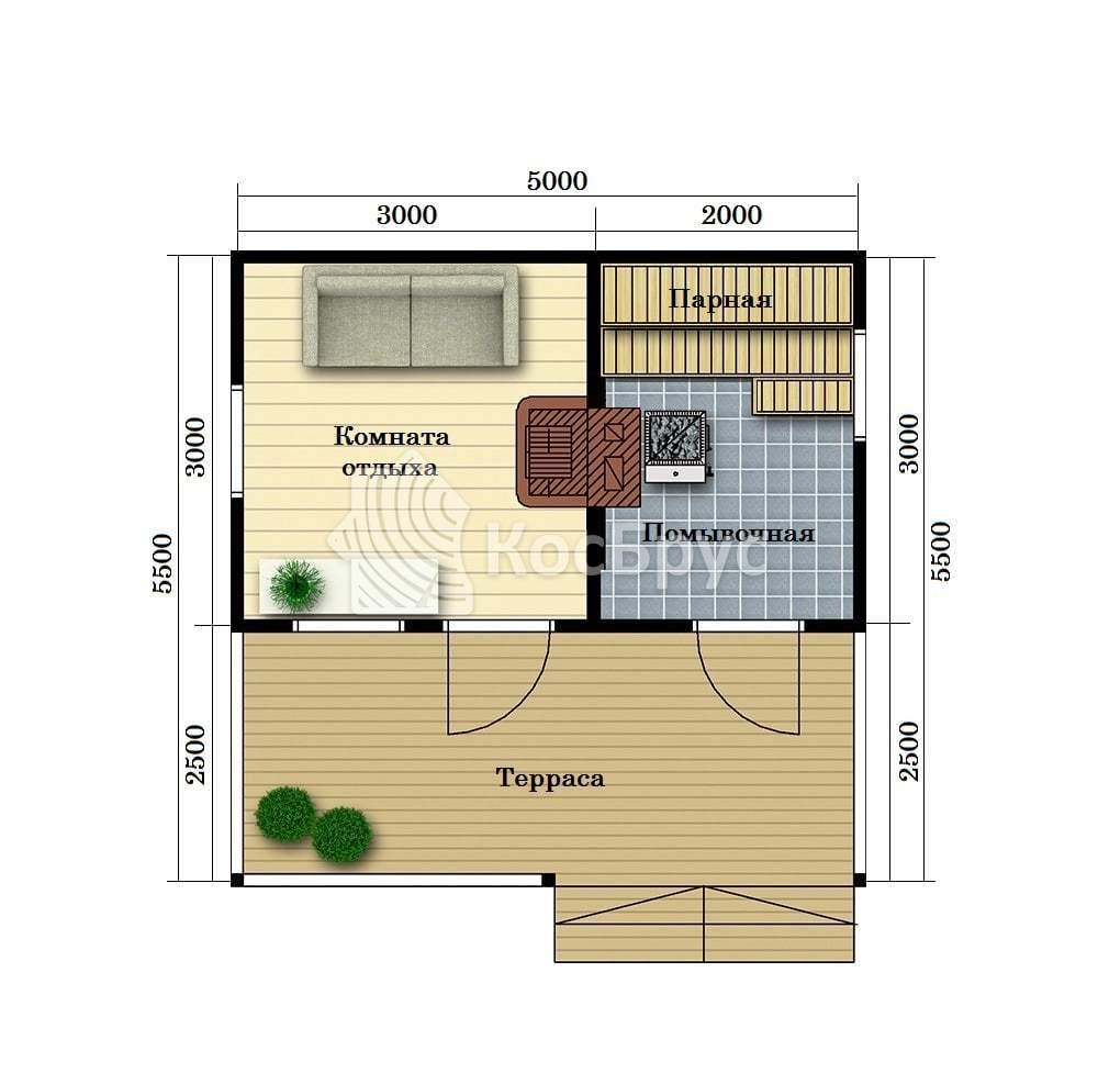 Проект бани с комнатой отдыха 5.0 х 5.5 м