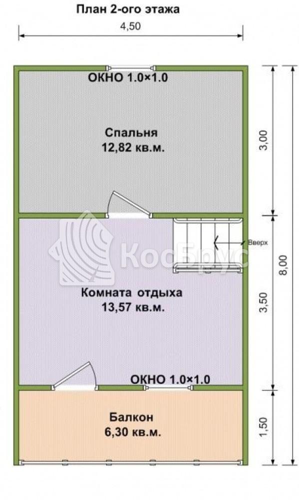 Проект бани с мансардным этажом 6.0х8.0 м