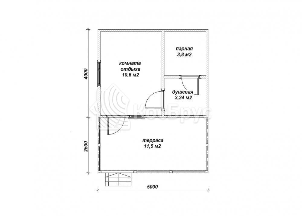 Проект бани с просторной террасой 5.0х6.5м