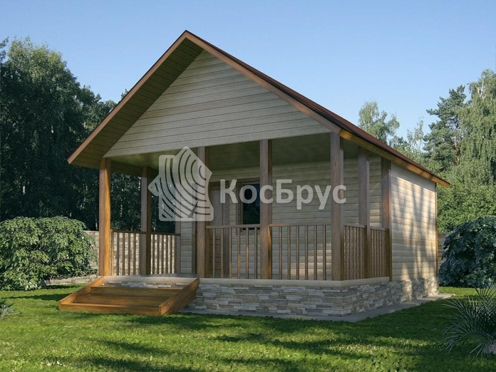 Проект бани с просторной террасой 5.0х6.5м «Герань»