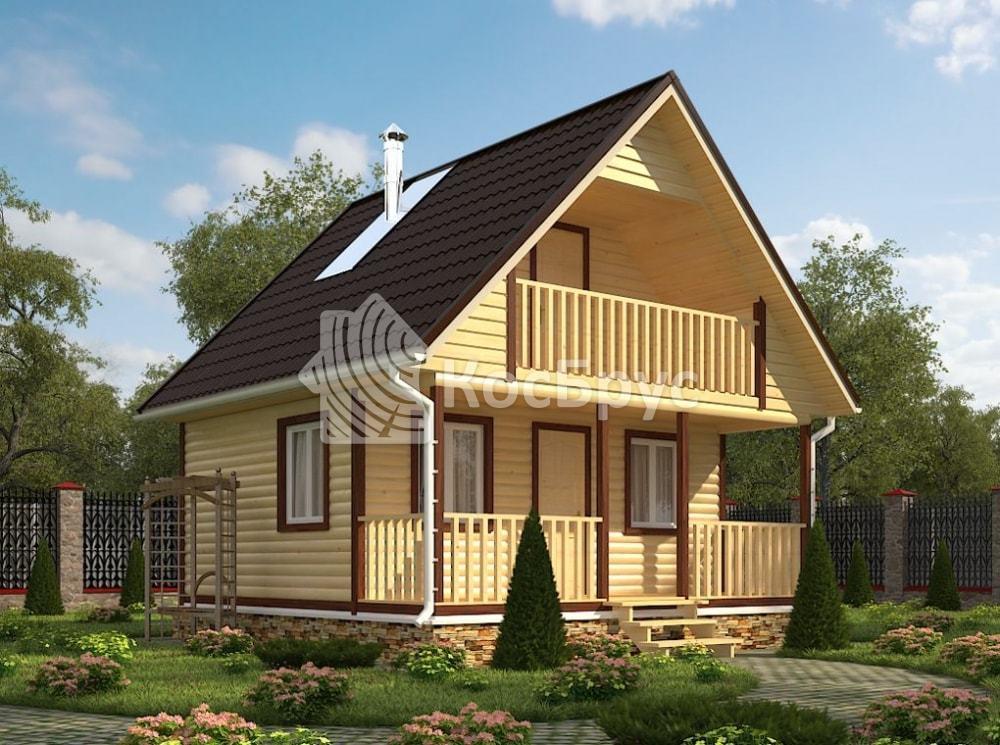 Проект бани с террасой и балконом 6.0х6.0 м «Фиалка»