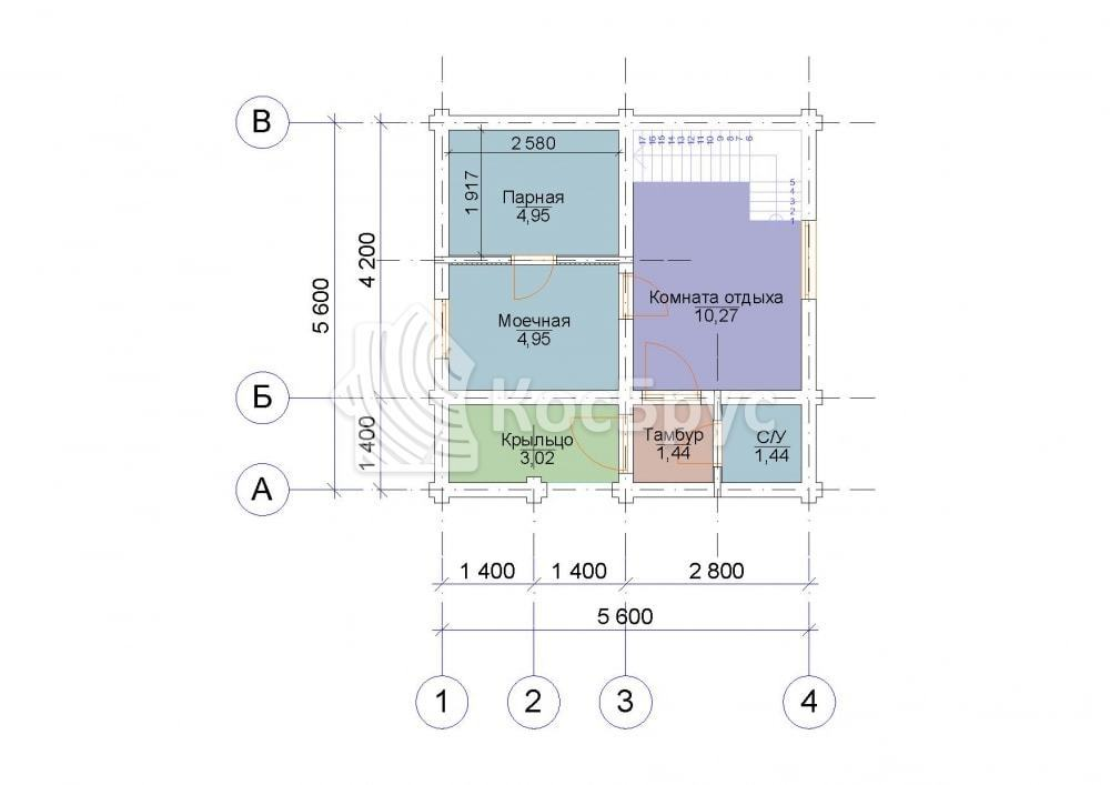 Проект дома 5.6х5.6 м