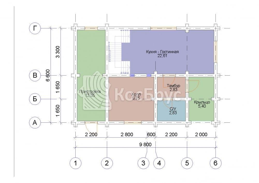 Проект дома 6.6х9.8 м
