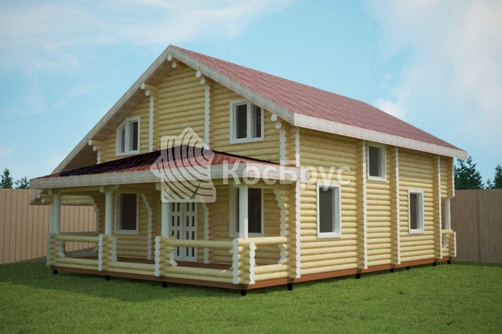 Проект дома 8.7х13.5 м с террасой 3.5х13.5 м