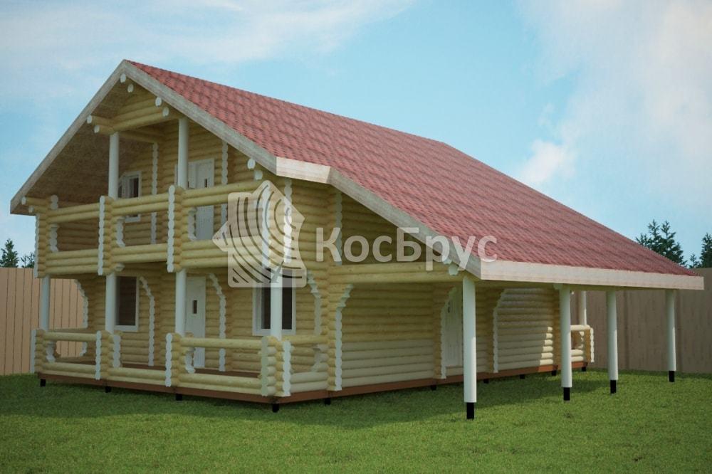 Проект дома 8.7х13.5 м с террасой 3.5х13.5 м «Градницы»