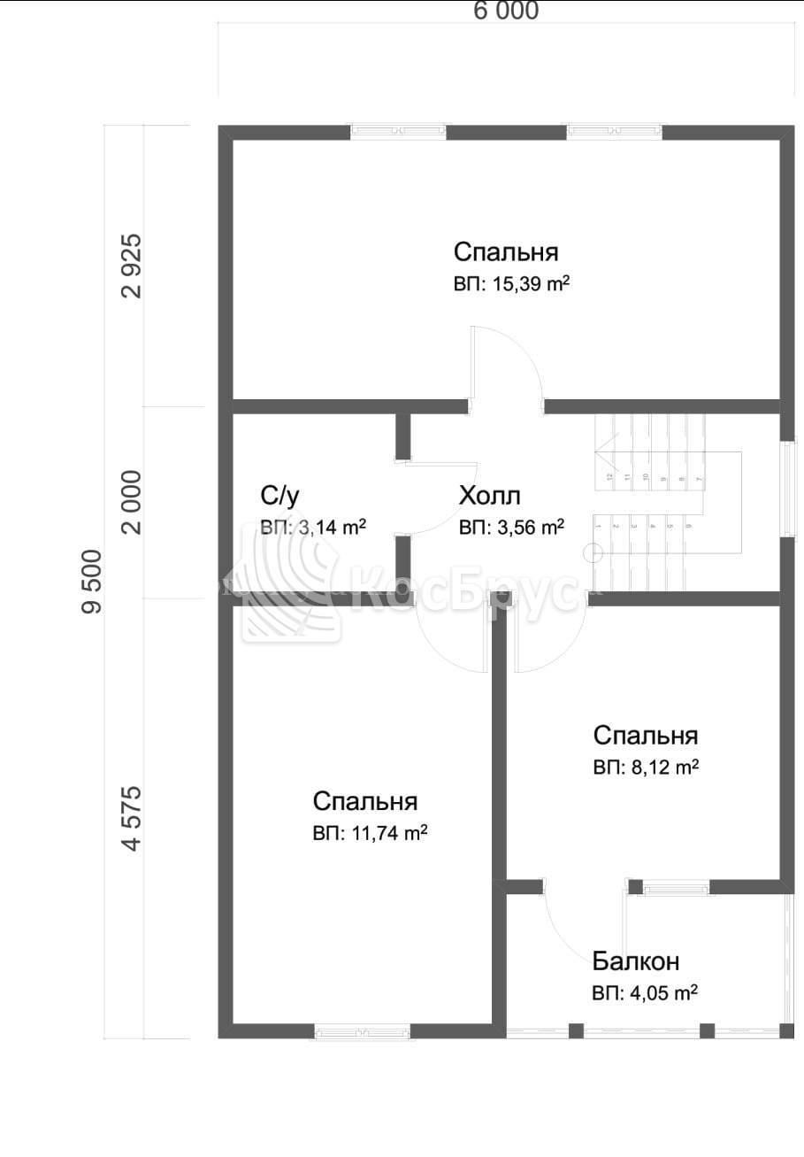 Проект дома из бруса 6.0х9.5 м