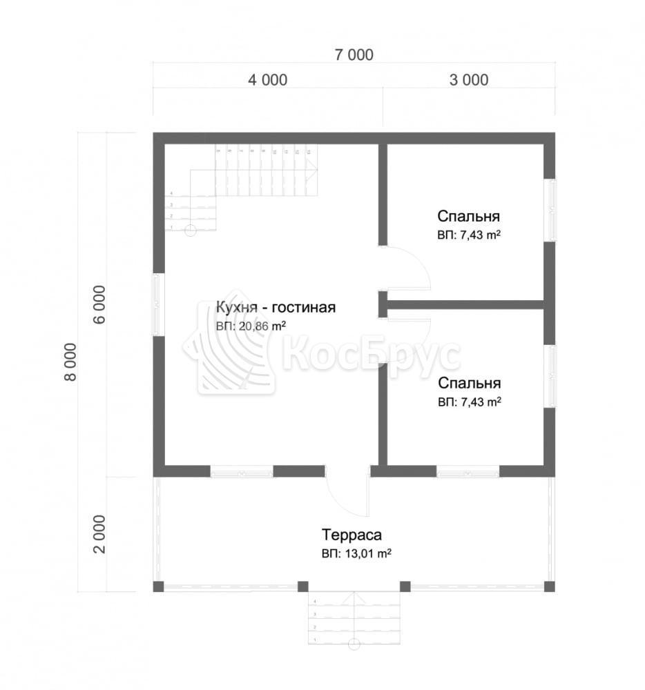 Проект дома из бруса 7.0х8.0 м с мансардой