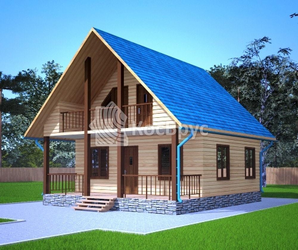 Проект дома из бруса 7.0х8.0 м с мансардой «Заволжск»