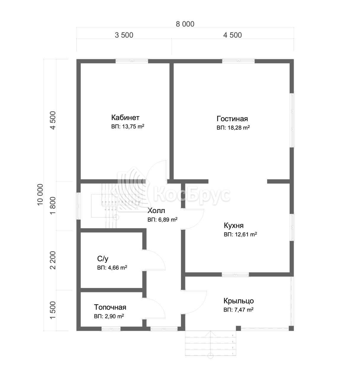 Проект дома из бруса 8.0х10.0 м