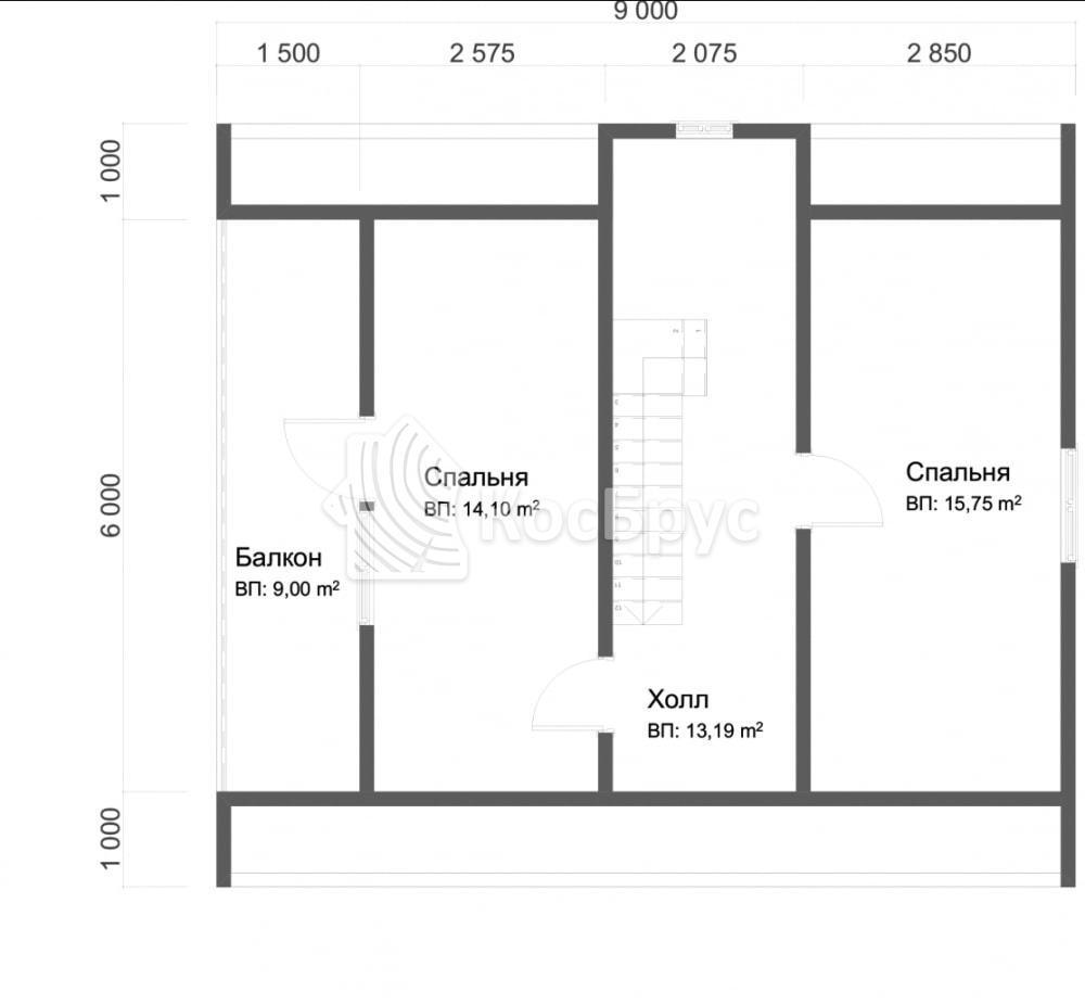 Проект дома из бруса 8.0х9.0 м с мансардой и балконом