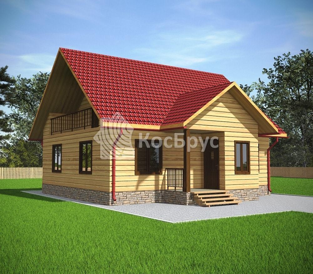 Проект дома из бруса 8.0х9.0 м с мансардой и балконом «Гороховец»