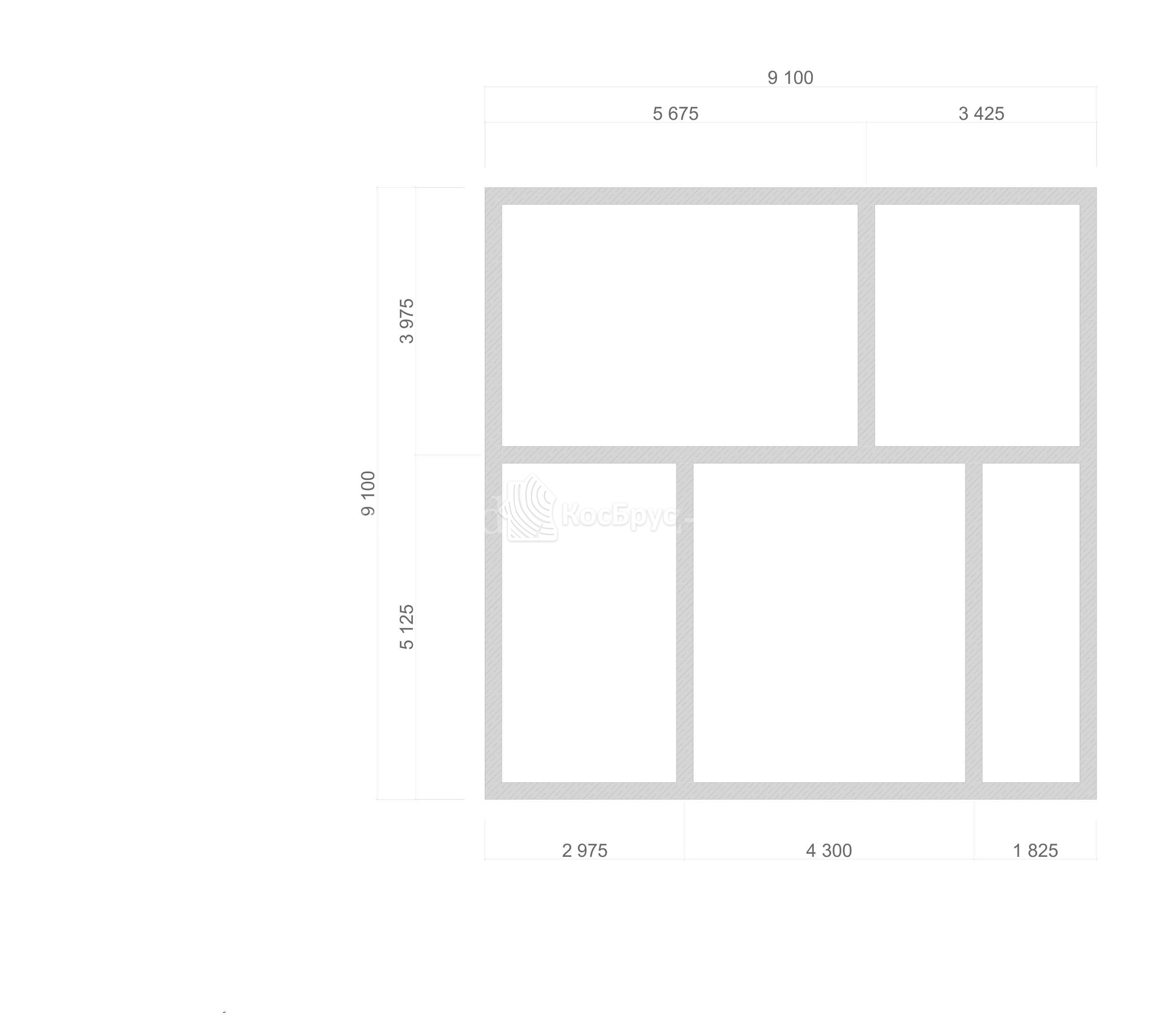 Проект дома из бруса 9.0х9.0 м