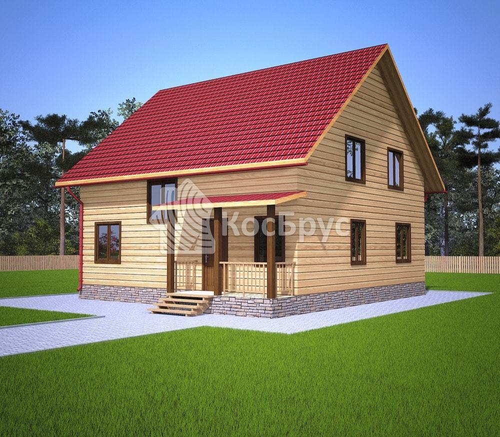 Проект дома из бруса 9.0х9.0 м «Заречный»