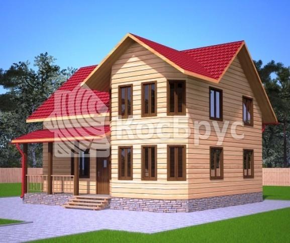 Проект дома из бруса с эркером и террасой 8.0х9.0 м «Лиски»