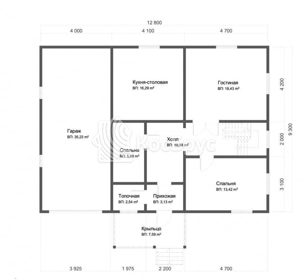 Проект дома из бруса с гаражом 9х12 м