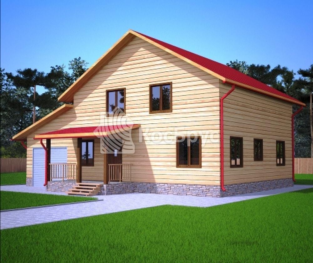 Проект дома из бруса с гаражом 9х12 м «Лабинск»