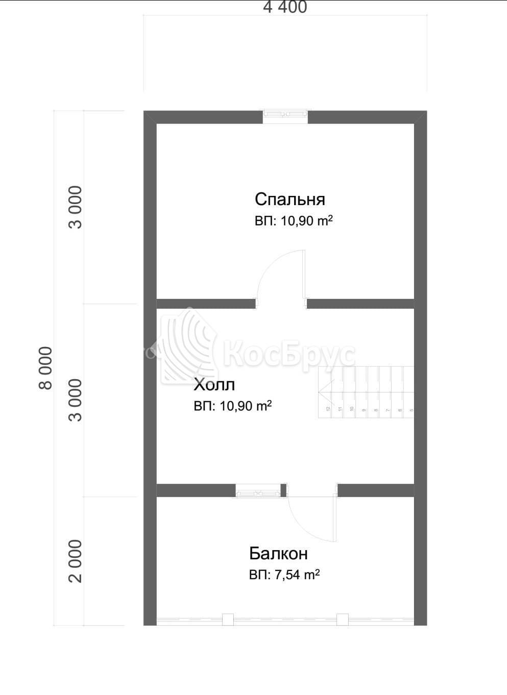 Проект дома из бруса с мансардой 6.0х8.0 м
