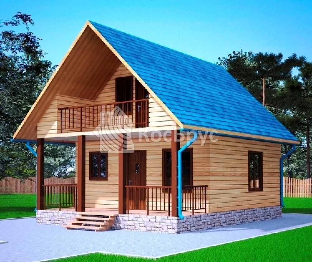 Проект дома из бруса с мансардой 6.0х8.0 м «Псков»