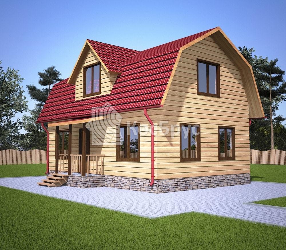Проект дома из бруса с мансардой 6.0х9.0 м «Кузнецк»